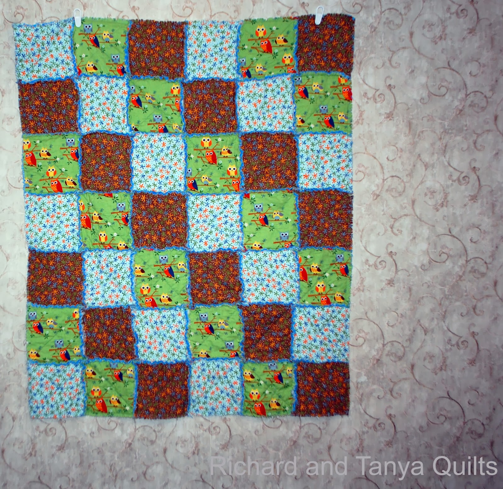 Rag Quilt Owl Pattern : Richard and Tanya Quilts: Owl and Stars Rag Quilt