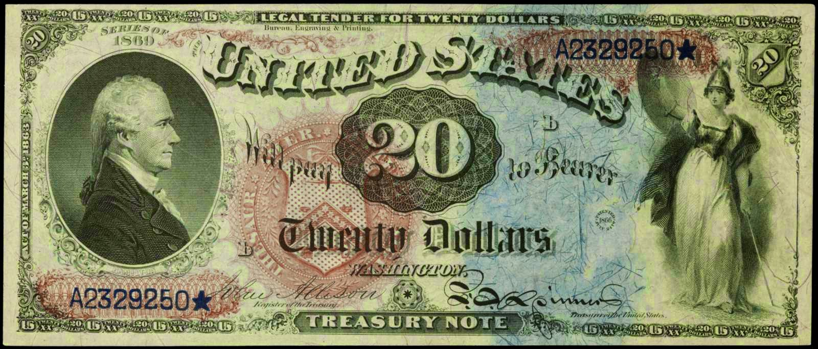 United States 1869 20 Dollar Legal Tender Rainbow Note