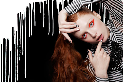 paint dripping down wall, black and white striped fashion, graphic manicure
