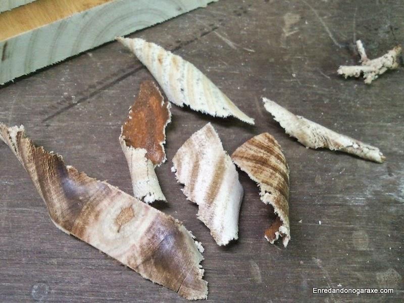 Rebanadas de madera eliminadas. Enredandonogaraxe.com