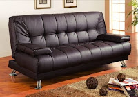 Futon Sofa Bed with Removable Arm Rests Brown Vinyl Leather