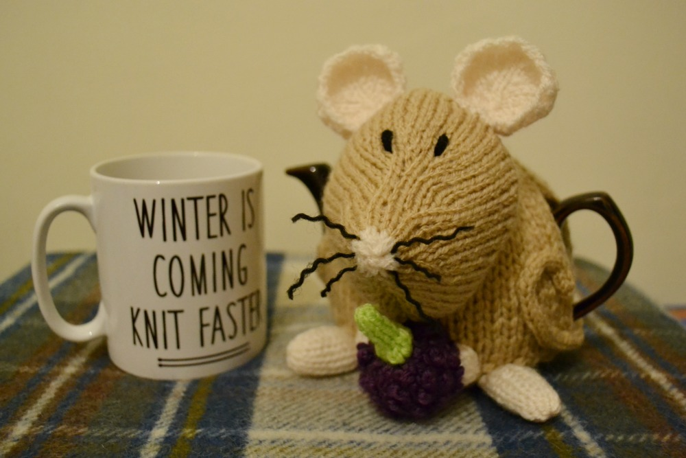 dormouse tea cosy folk pattern