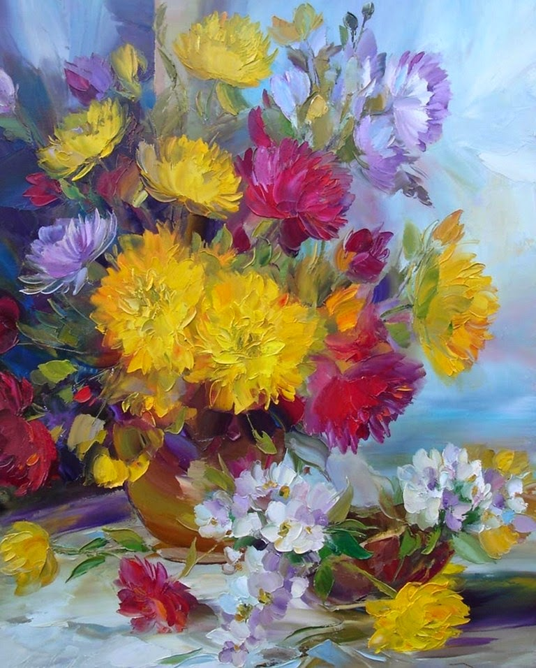 flores-en-oleo-y-espatula