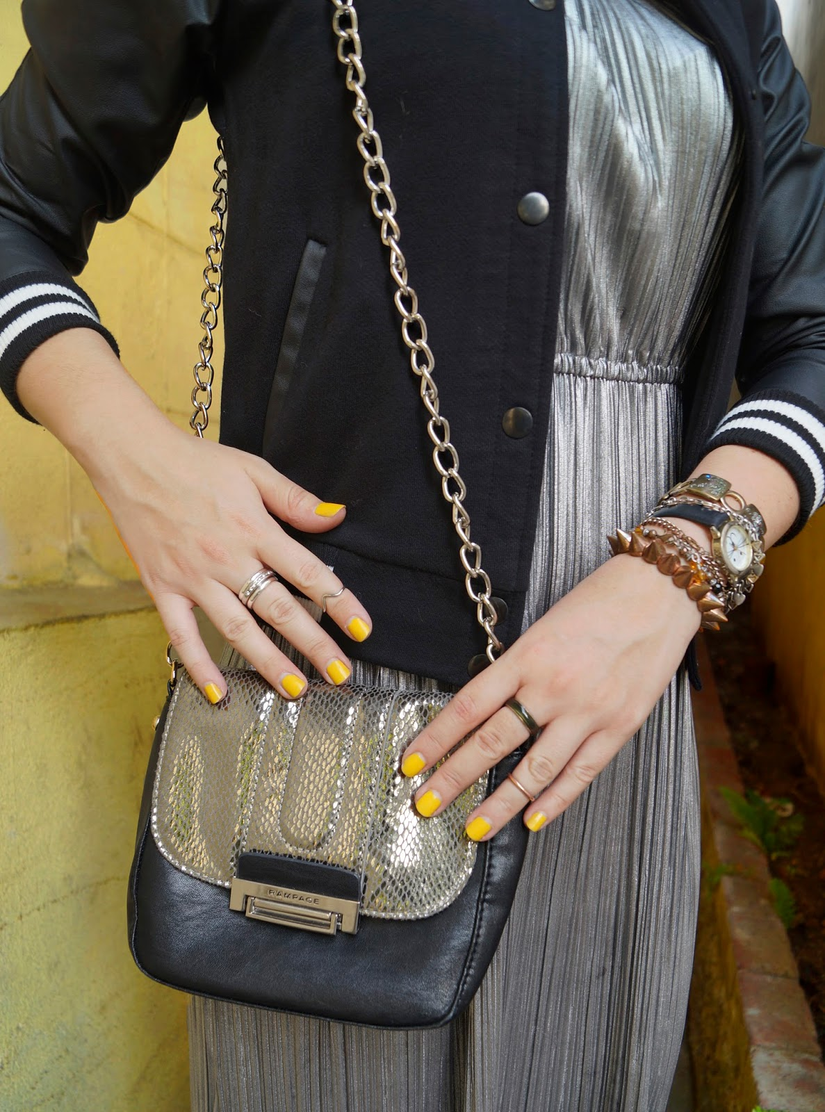 Yellow nails, Fashion blog, Rampage purse, Stylish outfit