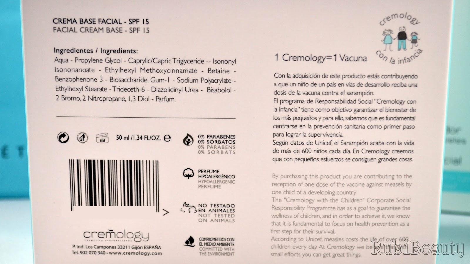 rubibeauty review opinion cremology crema rutina facial personalizada ingredientes