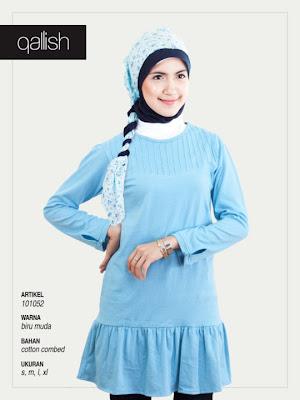 Produk Qallish Kaos Cardigan Koleksi Gamis Muslimah Biru Muda