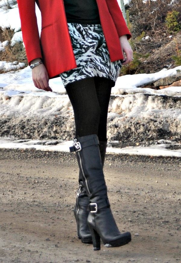 DIY Black and White Skirt with Tall Black Boots
