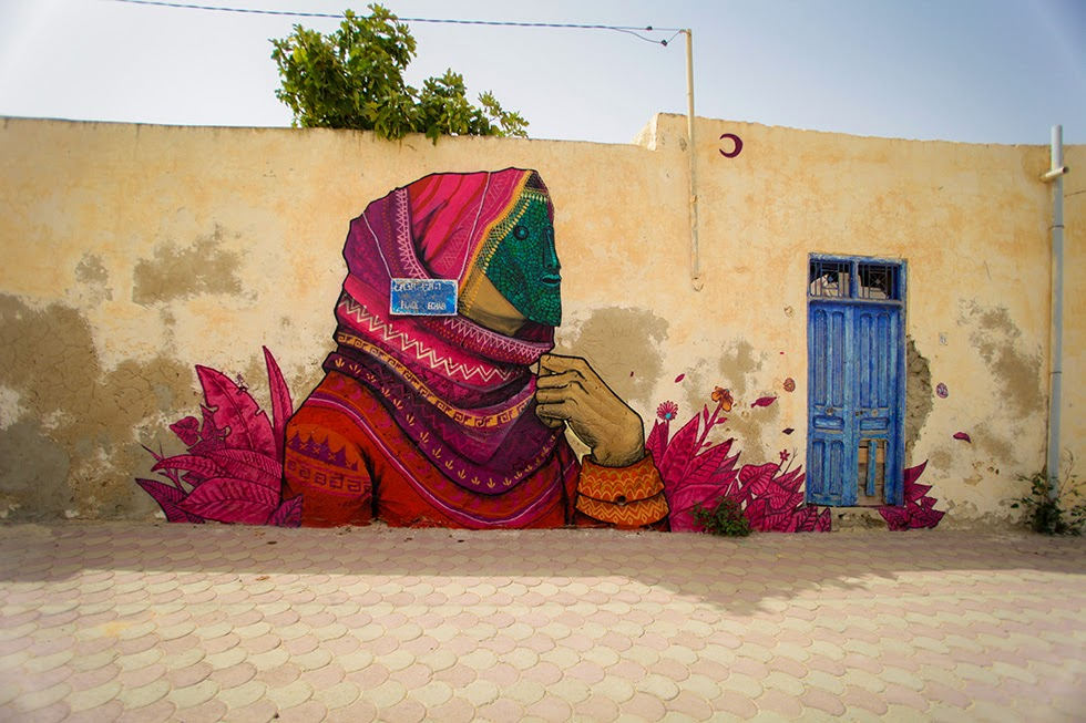 Mexican artist Saner was invited to participate in Djerbahood where he painted a series of beautiful pieces.
