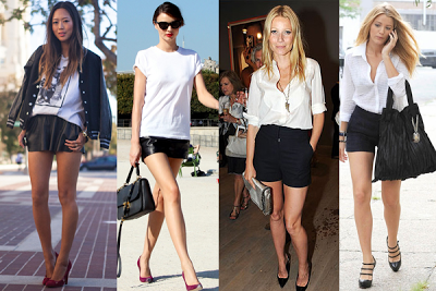 Moda preto com branco feminino