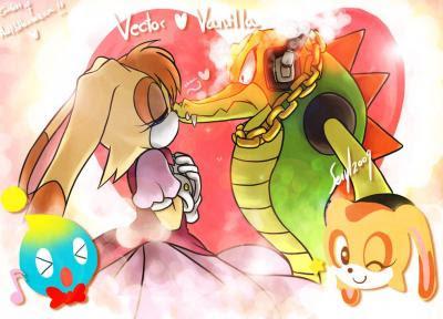 Vector  TE AMO VAINILLAVanilla The Rabbit And Vector The Crocodile
