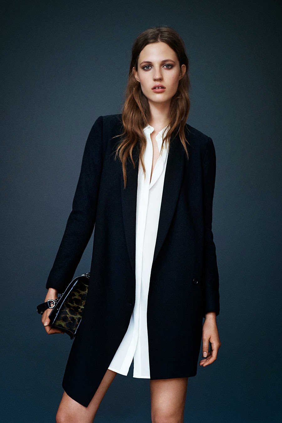 all saints aw october lookbook 2014. white shirt dress. wool coat. fall fashion