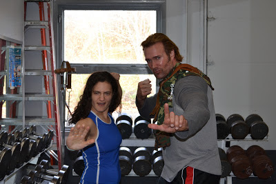 Olympic weightlifter Gwen Sisto with American Gladiator Mike O'Hearn