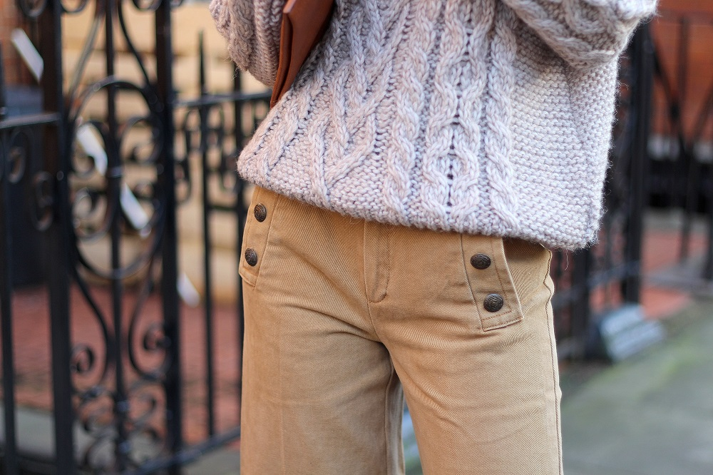 close up camel and grey knitwear