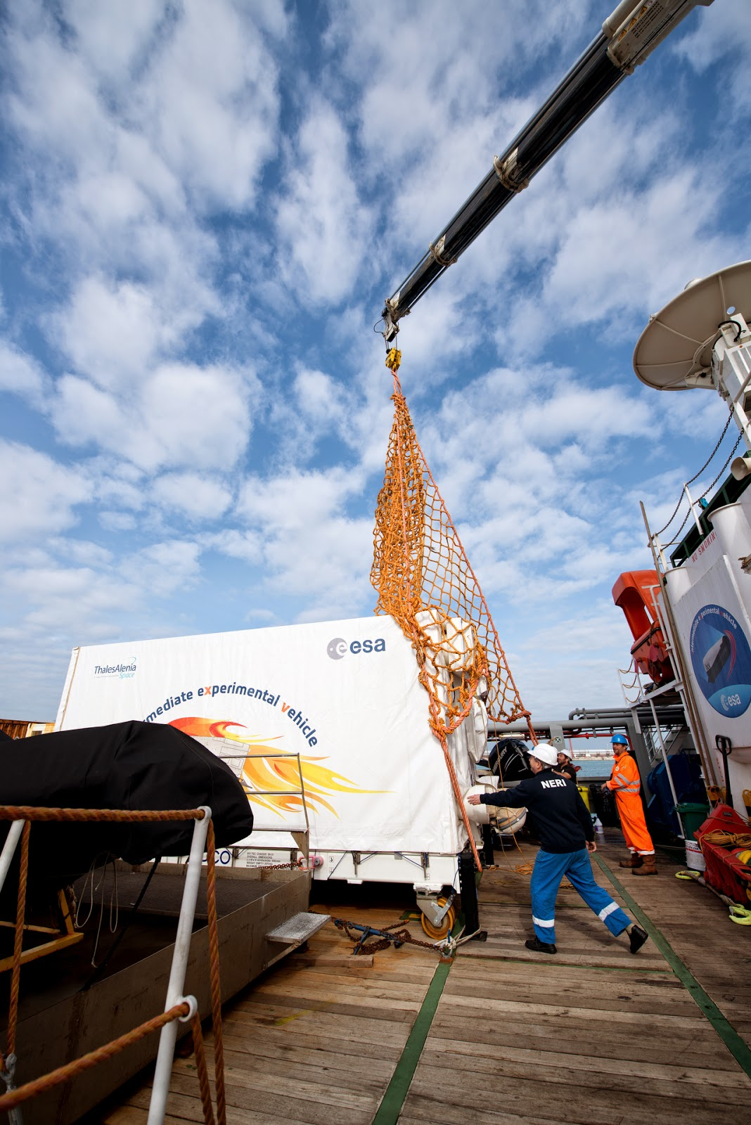 ESA's recovered IXV spaceplane arrived at the Port of Livorno in Italy on 26 March 2015 and will be taken to Turin for final analysis. Credit: ESA