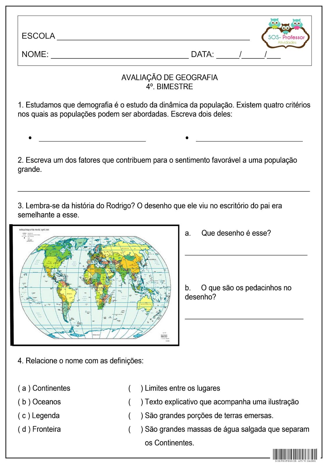 SOS PROFESSOR ATIVIDADES Geografia 4º bimestre ~ Rosa Dos Ventos Quarto Ano