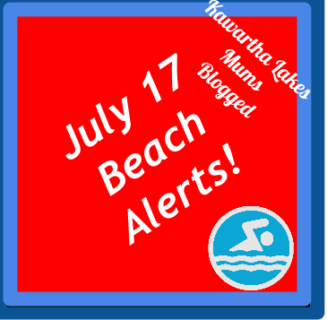 July   Beaches Posted Red Background White Writing Light Blue Swimmer Logo