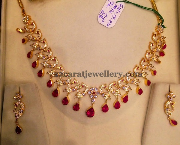 50 grams unique cz peacock set jewellery designs