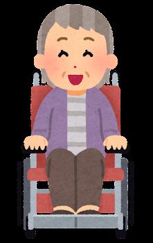 車椅子に乗ったお婆さんの表情イラスト(笑った顔)