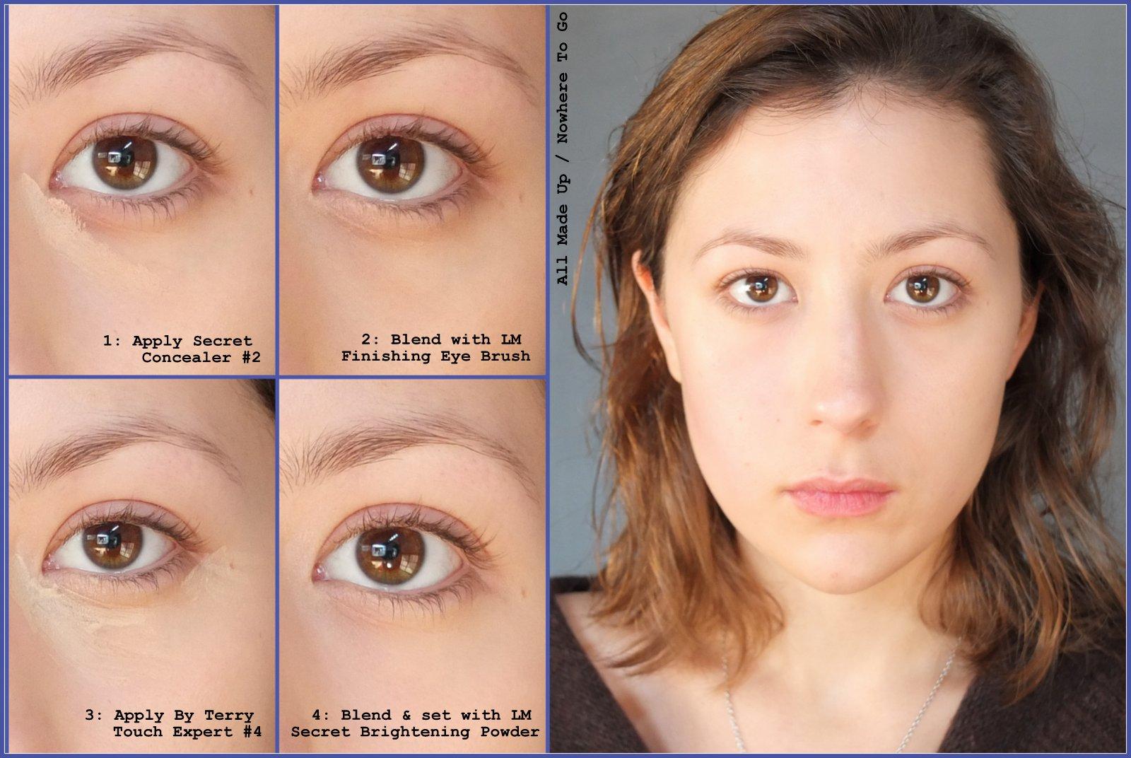White makeup under eyes