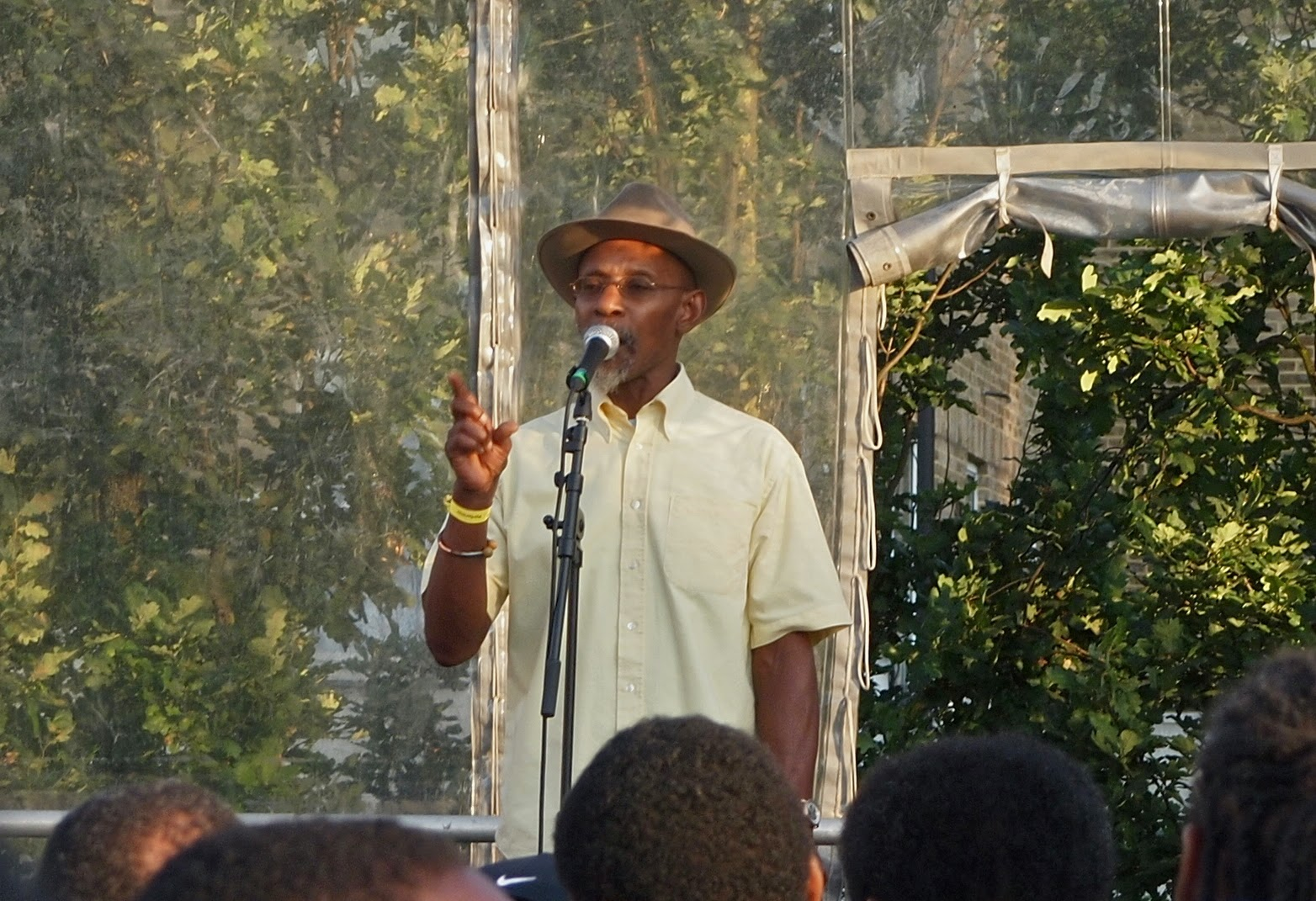 The original dub poet, Linton Kwesi Johnson, performs for the Black Cultural Archives opening, Windrush Square, Brixton, London,