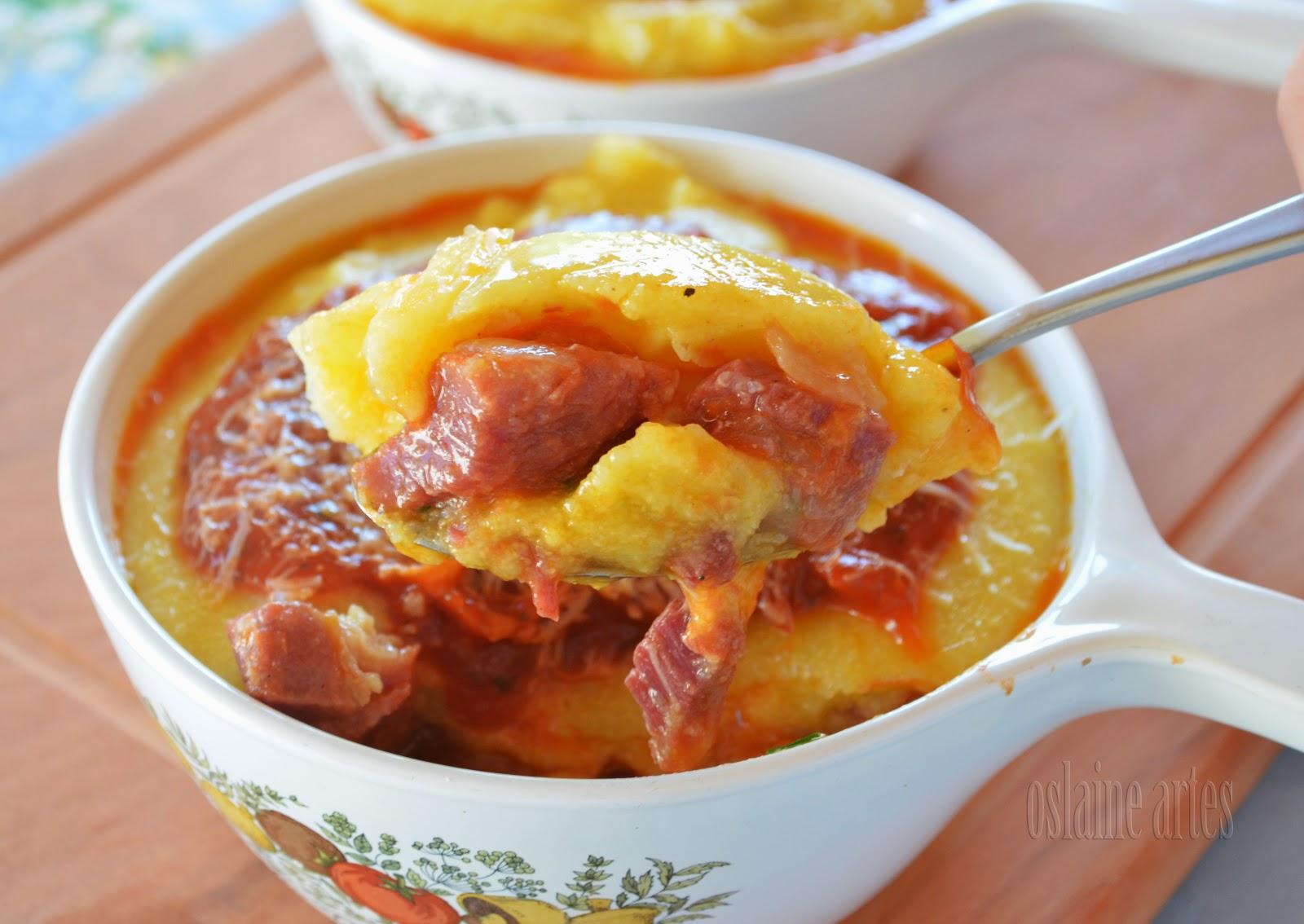 Polenta Recheada com Carne Seca