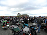 350 bikes parked and their riders getting ready to explore