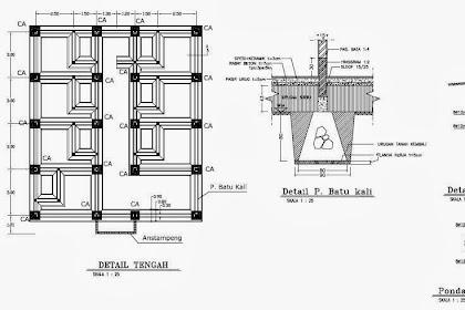 Gambar Rencana Struktur Pondasi Pembalokan Detail Penulangan