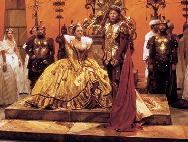 Valerie Masterson and Janet Baker as Cleopatra and Caesar in Handel's Julius Caesar at ENO