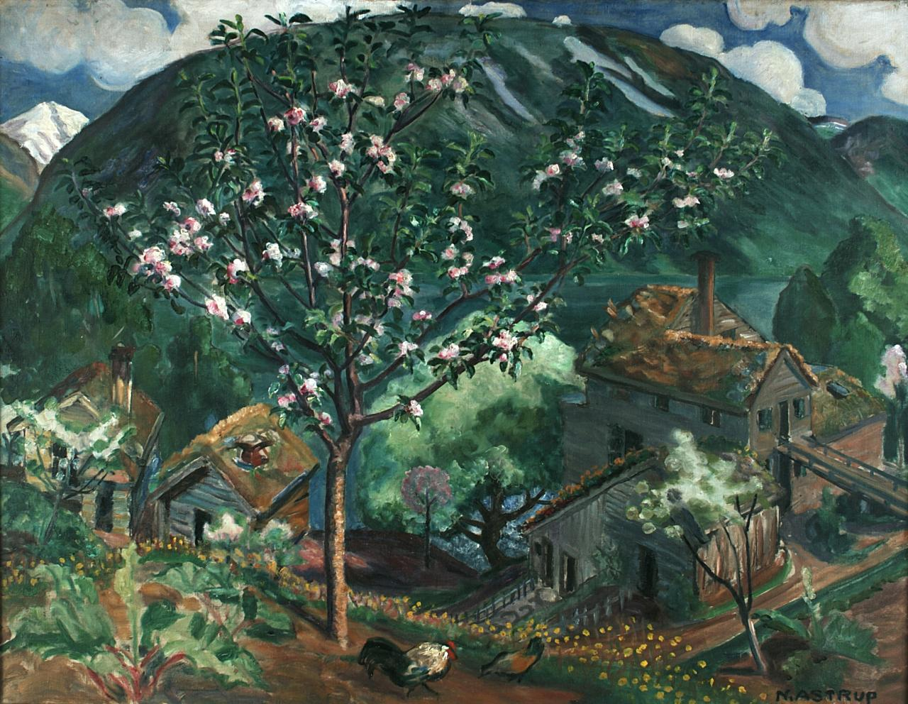 Here is Astrup's painted version of Astruptunet in his painting 'Apple Tree in Bloom.' Image: Courtesy of Nikolai-Astrup.no. Unauthorized use is prohibited.