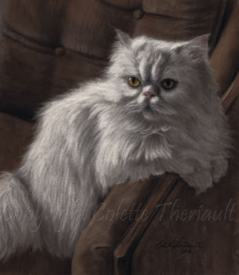 White Persian Cat Painting by Pet Portrait Artist Colette Theriault