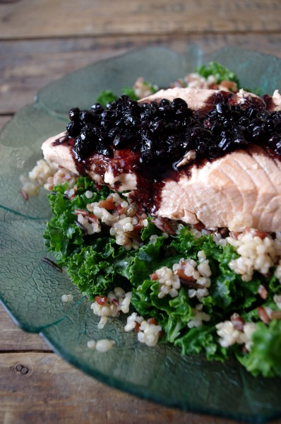 Simple Broth Poached Salmon with Blueberry Balsamic Reduction - The ...