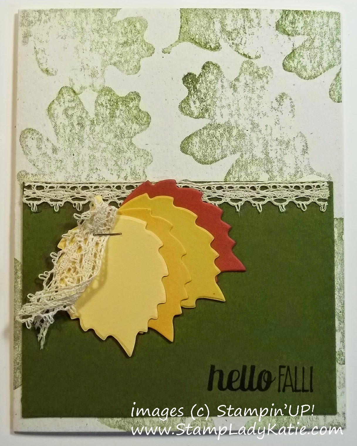 Fall card with images from Stampin'UP!'s For All Things Stamp Set and Autumn Accents leaf die