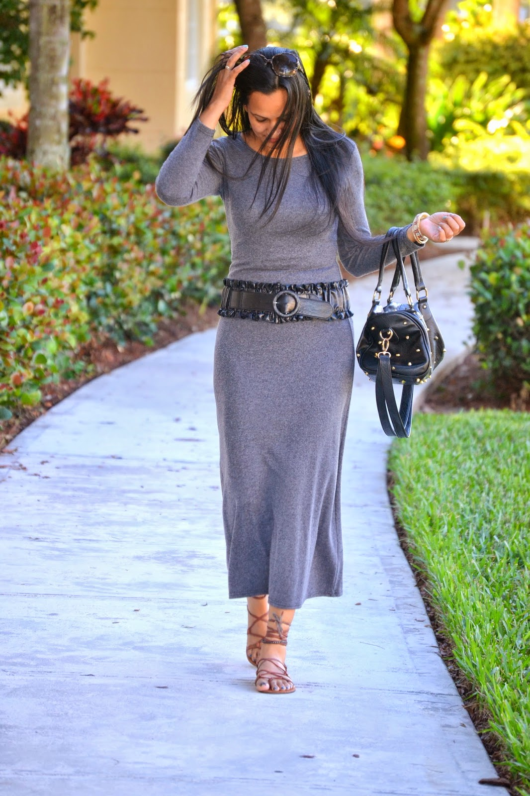 Shades Of Grey grey maxi dress gladiator sandals www.sandysandhu.co
