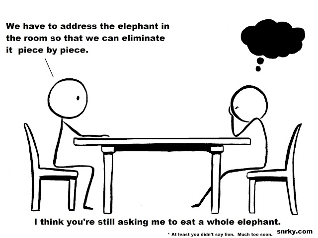 Snarky: We have to address the elephant in the room so that we can eliminate it   piece by piece.