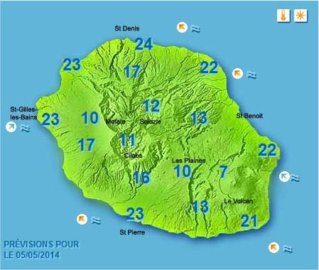 Prévisions météo Réunion pour le Lundi 05/05/14