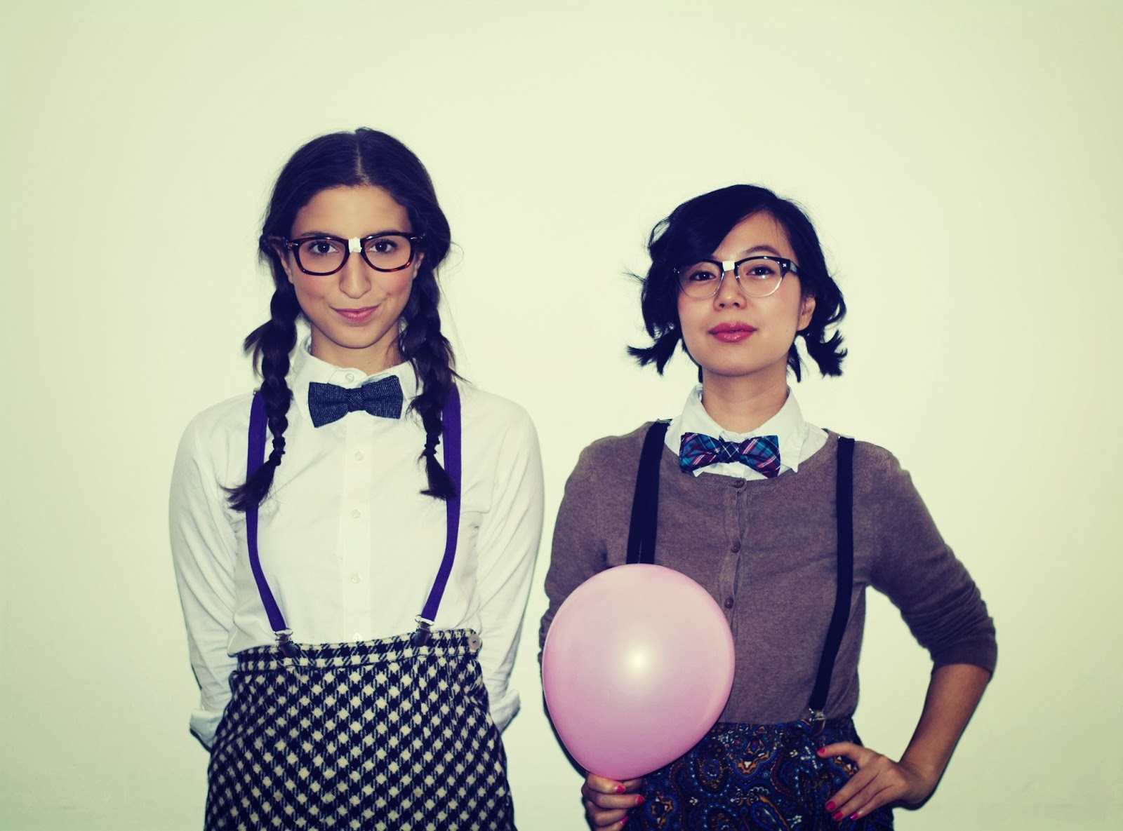 halloween nerds glasses braids cardigan suspenders bow ties paisley pants skirt