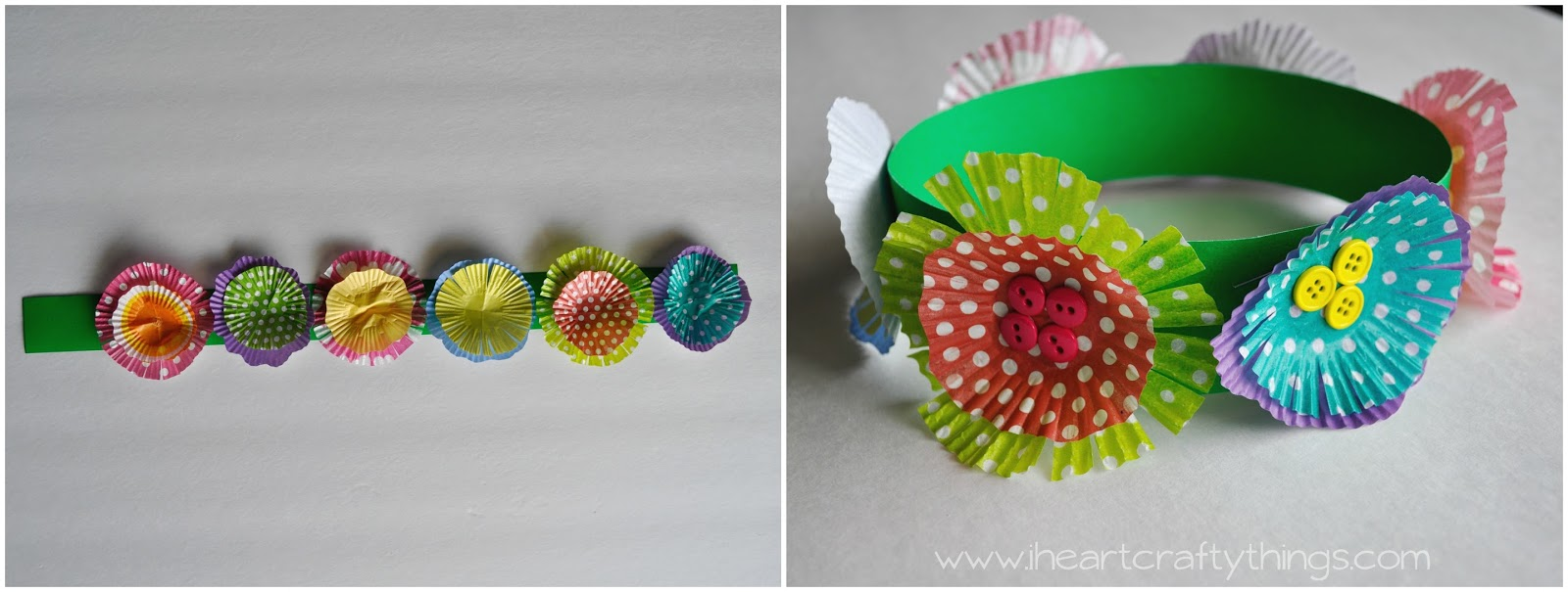 Flower crown out of cupcake liners i heart crafty things 5 fold the poster board strip into a circle lining your pencil mark up to the opposite edge of the strip use your stapler to put a staple at the top and izmirmasajfo Images