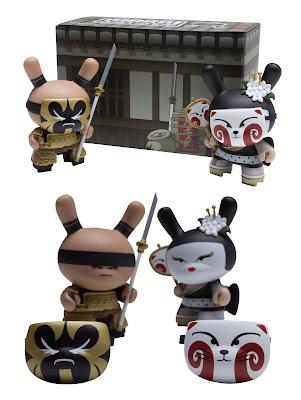 "Kidrobot - Gold Life Black Kabuki & Kitsune 3"" Dunny 2 Pack by Huck Gee"