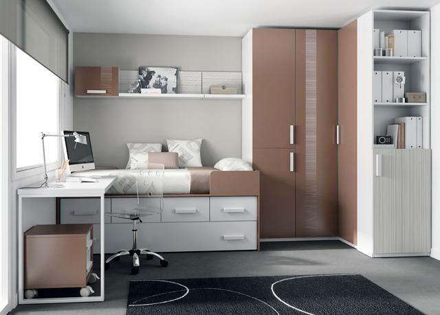 Dormitorio juvenil con cama compacto con 2 camas y cajones Dormitorio juvenil en l