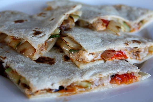 Loaded Vegetable Quesadilla recipe by Barefeet In The Kitchen