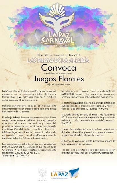 convocatoria juegos florales carnaval la paz 2016