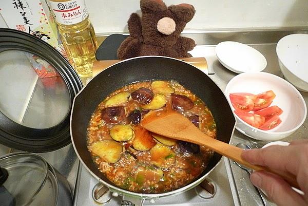 トマトの入った麻婆ナスの作り方(3)