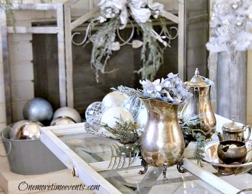 Silver Tea and coffee set Christmas Vignette at One More Time Events.com