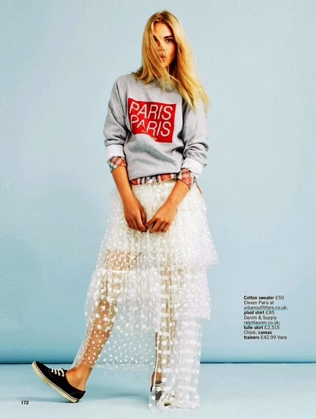 Chloé AW 2013 white dot mesh skirt