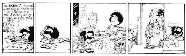 Mafalda comic with English translation on democracy