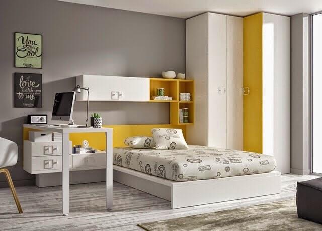 Habitacion cama con cabecero blanca y amarilla