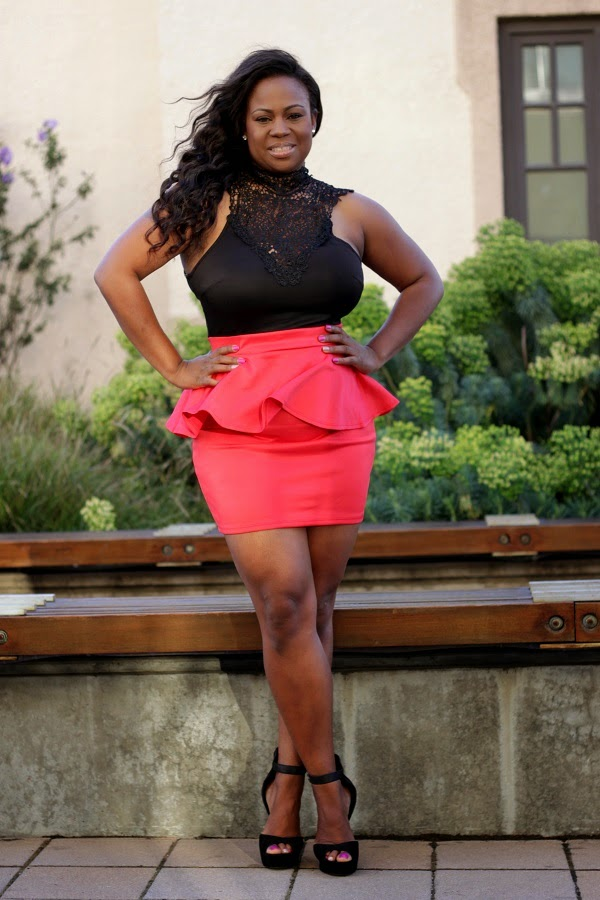 Black lace top pink peplum skirt dress Plus Size Fashion Blogger Melissa Geddis