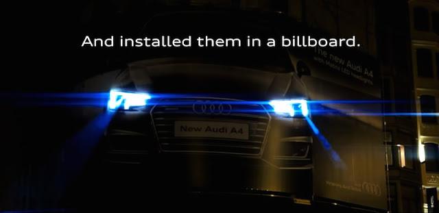 アウディのマトリクスLEDヘッドライトが広告に!普通の歩行者が犯人っぽい雰囲気に。
