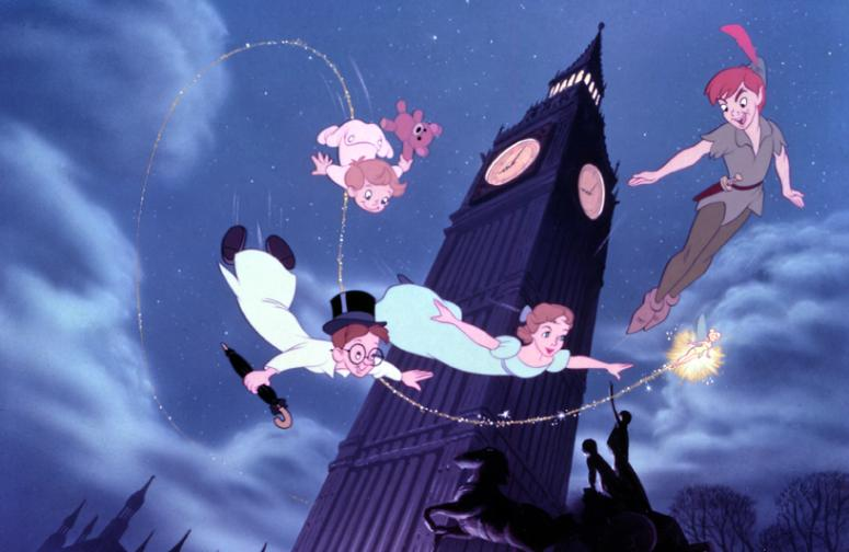 The Darling children flying Peter Pan 1953 animatedfilmreviews.blogspot.,com