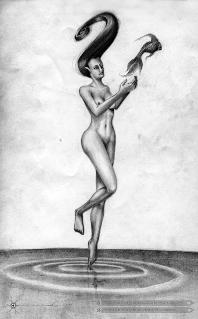 nude lady woman girl naked fish standing pose art artist pencil drawing draw paper traditional surreal horror sadness sad pain agony love  death concept abhijithvb abhijith vb avb india kerala